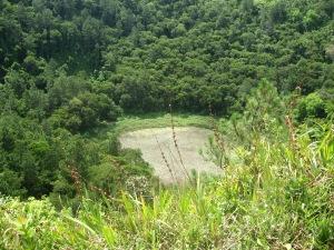 An extinct volcanic crater