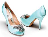 Farfalla aqua platform heel, embellished with a Swarovski butterfly.