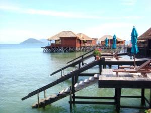 Huts on stilts at the resort