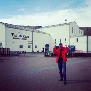 My husband 's delight at reaching Talisker is obvious
