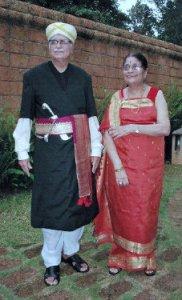 Advani and wife Kamala in Kodava attire at a resort in Kodagu. Photo: Anchemane Sudhi