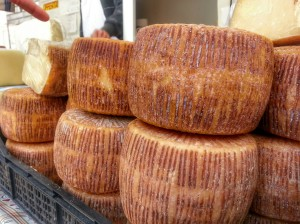 How can an Italian story be complete without food? Pecorino Cheese at a farmer's market in Tempio Pausania