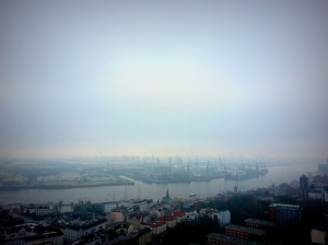 Views from the viewing platform of St. Michael's. The river Elbe flows yonder