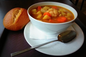 A hearty German vegetable soup with a crusty brioche on the side can do wonders after a walk on a windy day that froze me with every step that I took