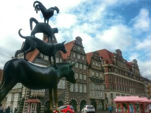 The bronze statue of the Four Musicians of Bremen in the Marktplatz