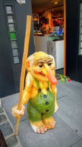 A troll. In Norwegian legends, the women trolls stir soups with their substantially long noses