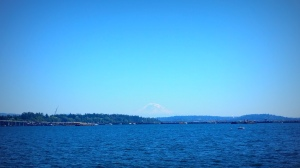 Mount Rainier looms above Lake Washington